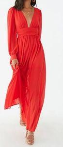 NWT Forever 21 sheer shirred chiffon dress
